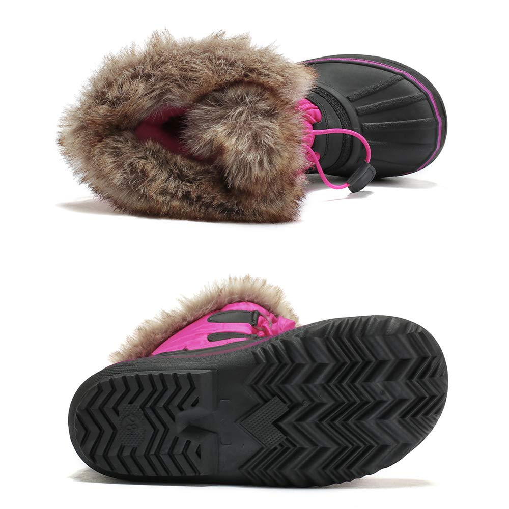 Warm Lined High Traction Sole Snow Boots KINDOYO Kids Winter Waterproof Shoes