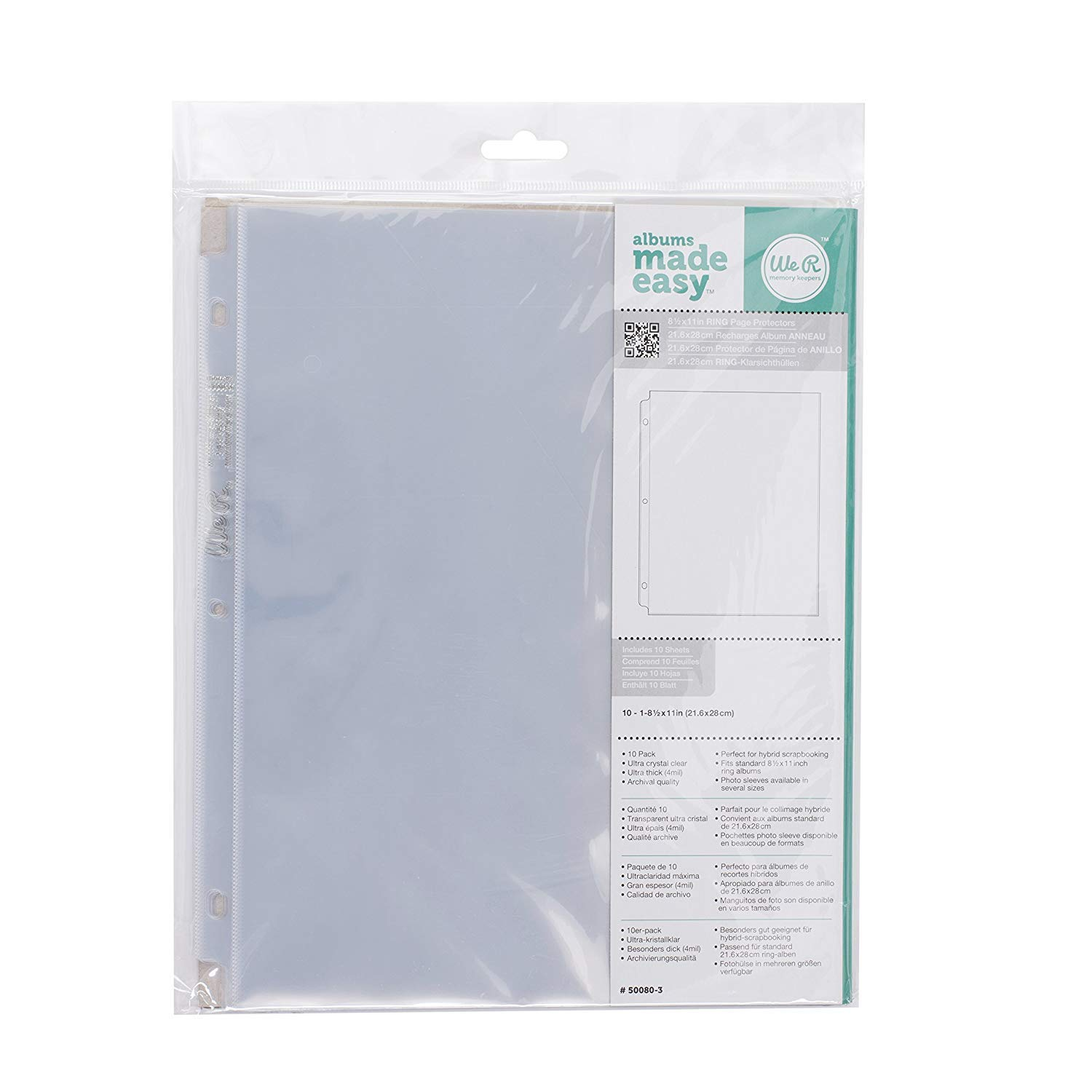 8.5 x 11-inch 3-Ring Album Page Protectors by We R Memory Keepers | 10 pack (Limited Edition) We R Memory Keeper.