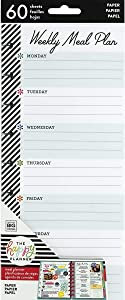 me & my BIG ideas Meal Plan Half Sheets - The Happy Planner Extension - Scrapbooking Supplies - 60 Pre-Punched Double-Sided Weekly Meal Plan & Grocery Checklist Pages - Classic Size