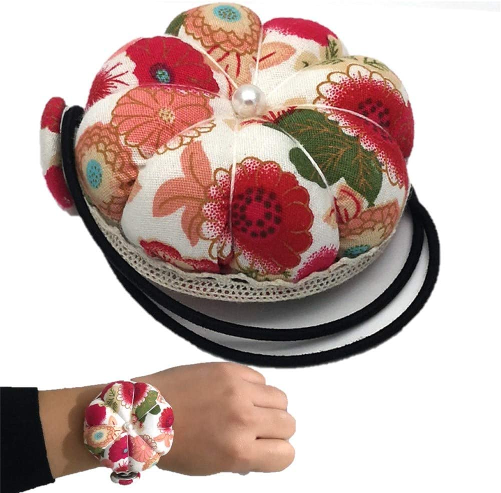 Unigant Wrist Strap Pin Cushion Wearable Sewing Needle Pincushions for Quilting DIY Handcraft Tool for Cross Stitch Sewing Home Safety Pin Cushion Accessories Ball Pumpkin Pin Shaped with Elastic