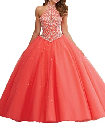 e7841ecc55c Amazon.com  DKBridal Women s Halter Sequined Ball Gown 2017 Quinceanera  Dresses Prom Gown  Clothing