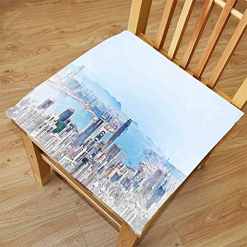 Nalahome Set of 2 Waterproof Cozy Seat Protector Cushion Urban Birds Eye View of Hong Kong in China and the Morning Sky Illustration Light Blue and Coconut Printing Size - Es China Hong Kong