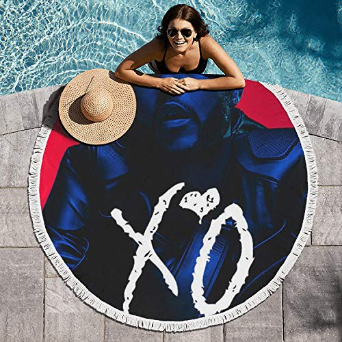 AnTPower Multifunctional Purposes Non-Slip Picnic Mat Circular Beach Towel Blanket Ultra Soft Star Bathroom Rug Roundie Circle Beach Towel Blanket 60 inch Large - Blanket Weeknd The Xo
