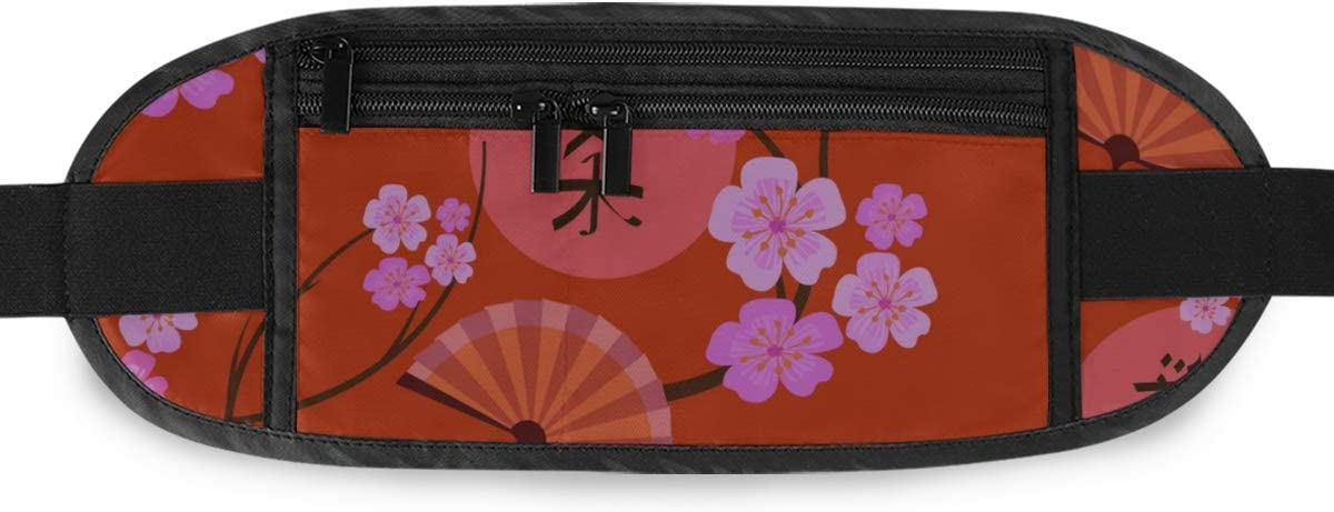 Spring Pattern Japanese Style Sakura Flowers Running Lumbar Pack For Travel Outdoor Sports Wal Travel Waist Pack,travel Pocket With Adjustable Belt