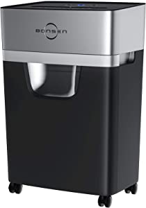 Paper Shredder, 15-Sheet Cross-Cut BONSEN High Security Credit Card Shredder with 5.3 Gallons Pull-Out Wastebasket and 4 Casters for Home Office, 30 Minutes Running Time, Black