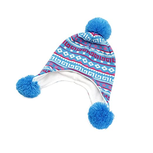 bd389a8d1e2 LLmoway Baby Infant Boys Girls Winter Knit Hat with Earflap Kids Warm  Fleece Pom Beanie Cap