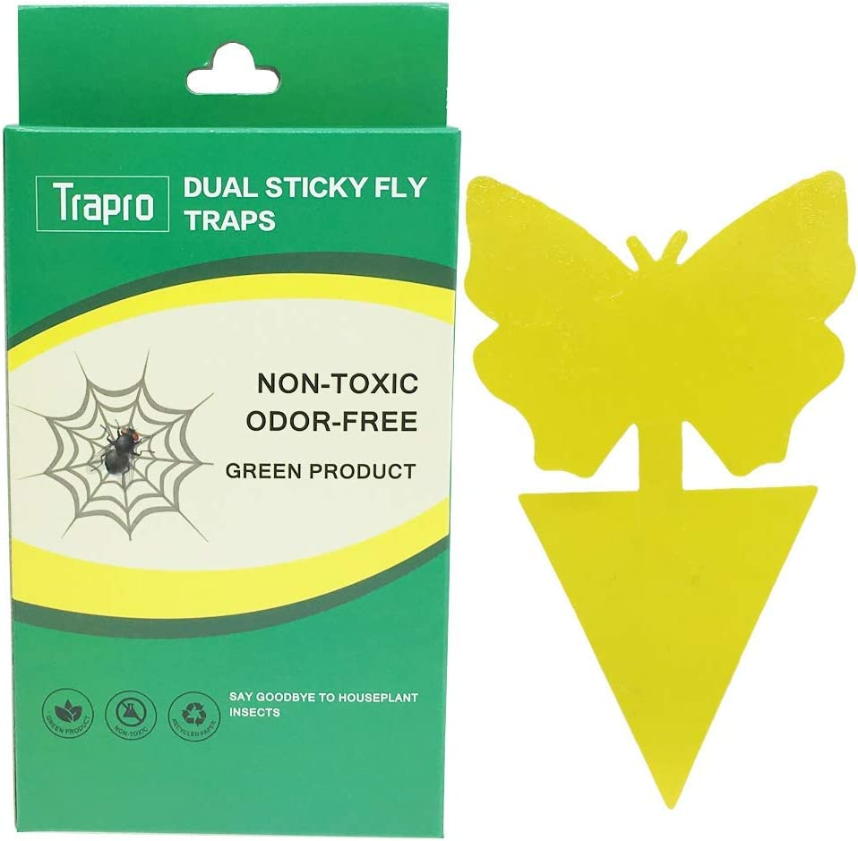 Trapro Faicuk Yellow Dual Sticky Fly Traps Fly Paper Stickers Catcher Sticky Board for Houseplant Fly Insect Control, Non-Toxic and Eco-Friendly - 20 Pack