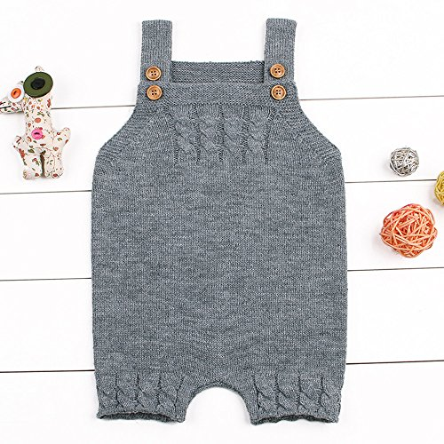 Fineser TM Toddler Baby Boys Girls Sleeveless Solid Strap Kintted Rompers Jumpsuit Sweater Playsuit Outfits
