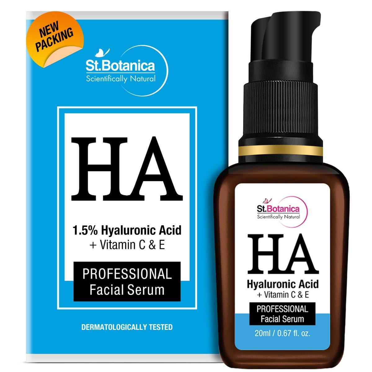 StBotanica Hyaluronic Acid Face Serum + Vitamin C, E - Under Eye Dark Circles, Anti Aging, Skin Fairness Brightening, 20 ml