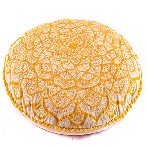 Mandala Life ART Bohemian Floor Cushion Luxury, Artisan Room Dcor Pouf for Meditation, Yoga, and Boho Chic Seating Area Floor Pillow   Handmade in India by