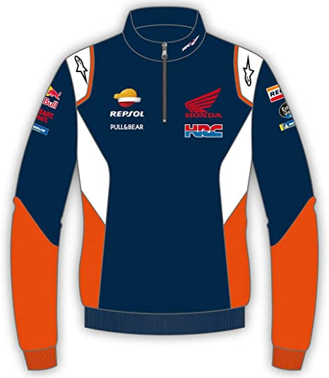 HONDA Repsol Moto GP Teamwear Panel Logos Blu Half Zip Felpa Ufficiale 2020