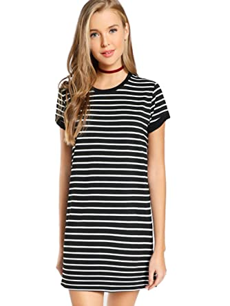f0627a578a3 Milumia Women s Short Sleeve Casual Striped Tee Short Dress Small Black and  White