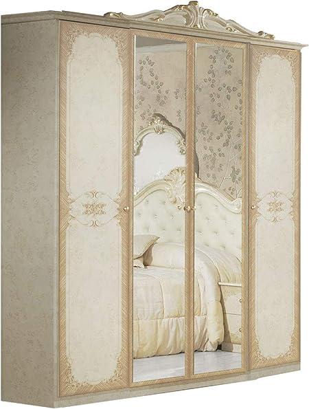 LIGNEMEUBLE Tatum lacado marfil dormitorio Barroque: El armario 4 puertas: Amazon.es: Hogar