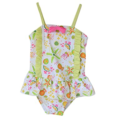 f6cefe6a8749fa Amazon.com: ANJUY Girls One Piece Swimsuit Kids One Piece Colorful Printed  Ruffle Swimwear: Home & Kitchen