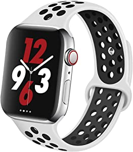 OriBear Compatible for Apple Watch Band 44mm 42mm, Breathable Sporty for iWatch Bands Series 5/4/3/2/1, Various styles and colors for Women and Men(S/M,Platinum black)