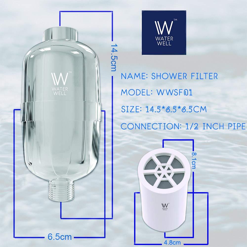 salida sistema de filtraci/ón de cloro para cabezal de regadera y filtro purificador de agua de 8 fases Cartucho de repuesto para filtro de ducha WaterWell
