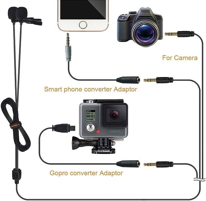 Comica CVM-D02 Microfono a risvolto Lavalier a doppia testa Microfono a clip omnidirezionale a condensatore per fotocamere DSLR Sony Nikon Sony Videocamera Action GoPro 4//3 Smartphone iPhone