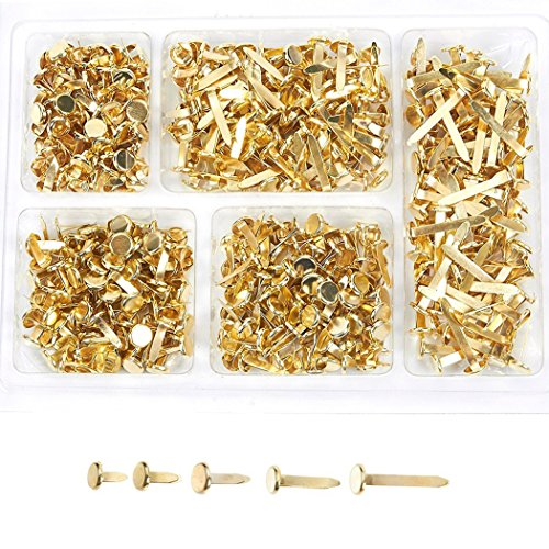 Mini Brads - 500-Pieces Scrapbooking Brads, Paper Fasteners, Steel Brad Fasteners, Gold, 5 Assorted Sizes ()