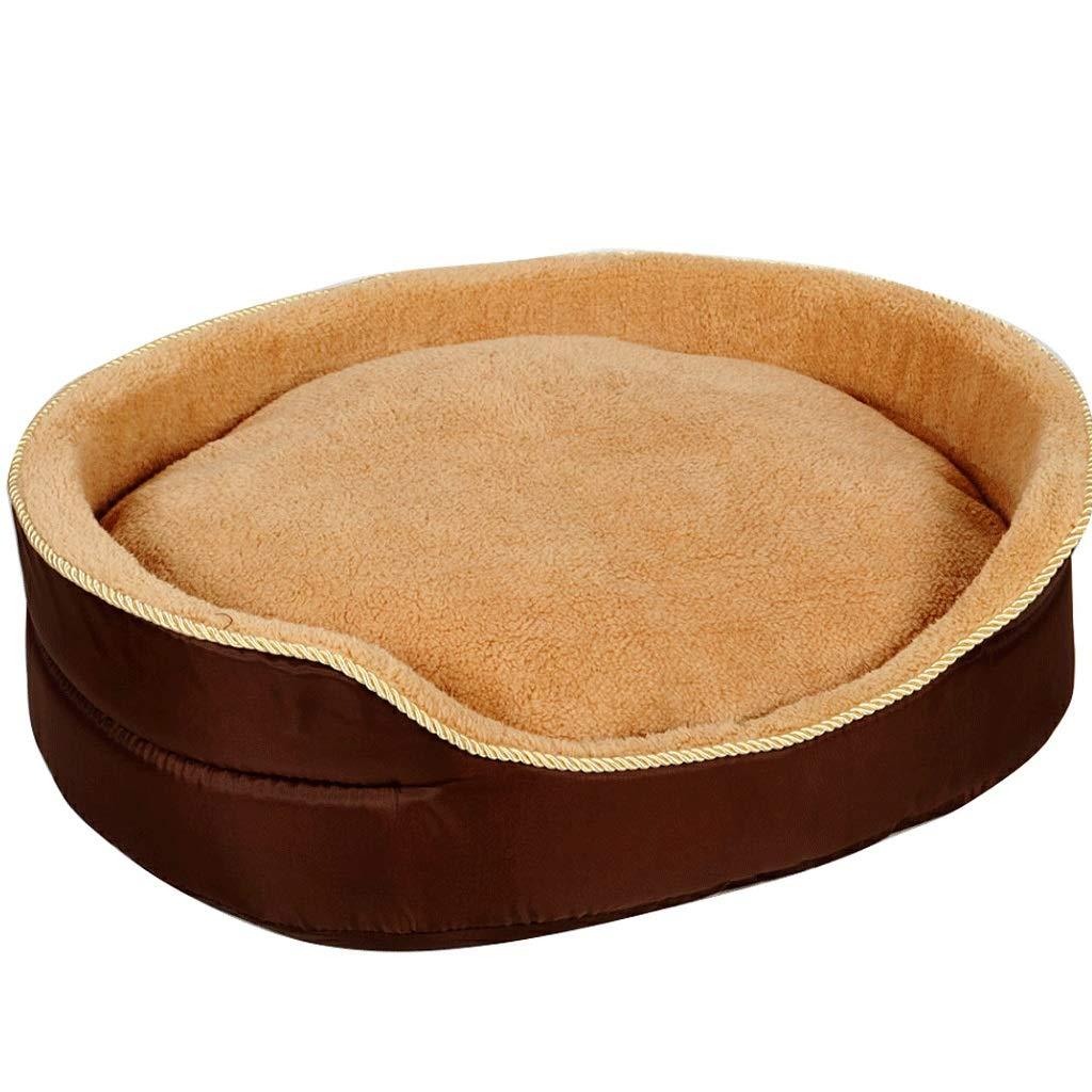 Hongyan Pet Bed Canile Aperto Staccabile Pulito Inverno Spessore Caldo Casa degli Animali Soggiorno Camera da Letto Balcone Gattopardo Universale A+ (colore   Marronee+Mat, Dimensioni   65×50×18cm)