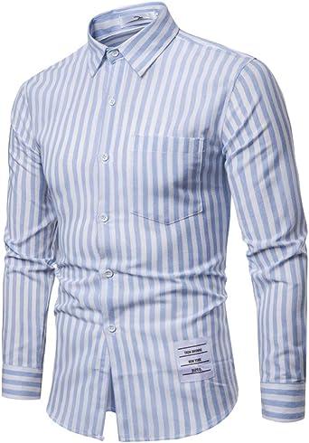 Slim Shirt Ocio Camisa Raya Negocios para La Solapa Hombre Manga Larga Business: Amazon.es: Ropa y accesorios