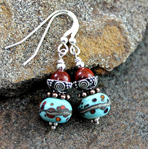 (Turquoise Art Glass Earrings with Red Rainbow Jasper, Sterling Silver, Drop)