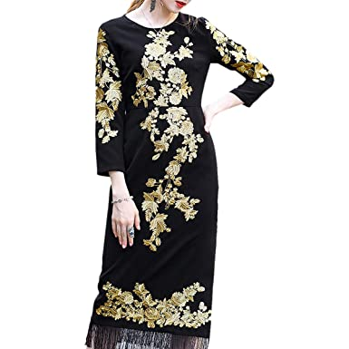f7372a999d1 Floral Embroidery O-Neck Shirt Floor Length Long Sleeve Women s Maxi Dress  (Color