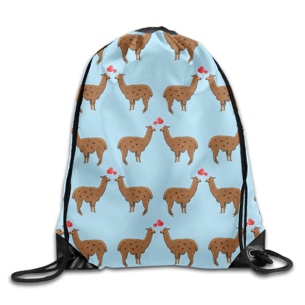 I Heart Love Llama Unisex Drawstring Backpack Travel Sports Bag Drawstring Beam Port Backpack.