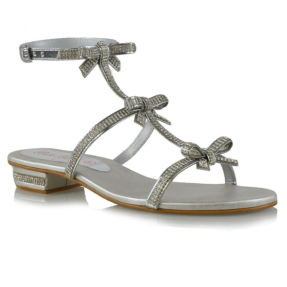 e4705230c467 ESSEX GLAM Womens Flat Strappy Sandals Diamante Ladies Party Sparkly Silver  Heel Shoes Size  Amazon.co.uk  Shoes   Bags