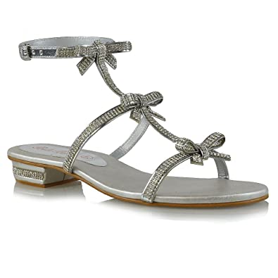 e67a59148e85a ESSEX GLAM Womens Flat Strappy Sandals Diamante Ladies Party Sparkly Silver  Heel Shoes Size  Amazon.co.uk  Shoes   Bags