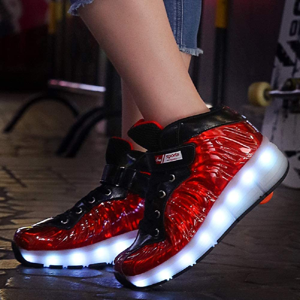 Ehauuo Unisex Wheel Shoes Kids LED Light up USB Charge Roller Skate Flashing Sneakers for Girls Boys Gift