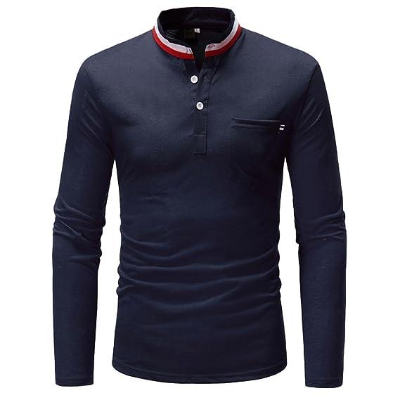 Btruely Herren_camisetas de Hombres de Otoño Blusa de Manga Larga Camiseta Stand Collar Casual Camiseta Tops