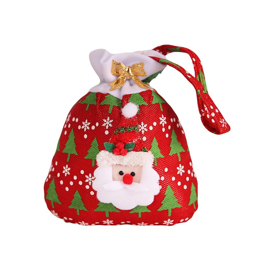 Slri SIridescentZB Tote Borsa in Stoffa di Mele Caramelle, Babbo Natale Pupazzo di Neve Regalo di Natale Babbo Natale Rosso