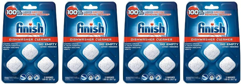 Finish In-Wash Dishwasher Cleaner: Clean Hidden Grease & Grime, 3 ct - 4 pack
