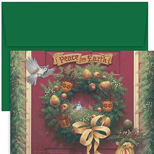 Masterpiece Studios Stationery (Masterpiece Studios Hollyville Greetings Boxed Cards, Peace on Earth Wreath 18 Cards/18 Envelopes)