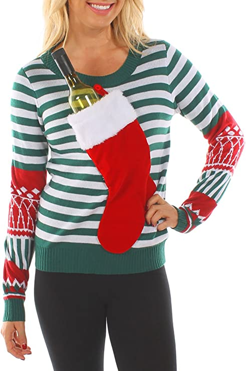 Tipsy Elves Women's Christmas Stocking Tacky Sweater for wine bottle Best Ugly Christmas Sweaters Ever