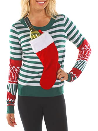 9aedd7fd9f22d8 Tipsy Elves Women's Christmas Stocking Tacky Sweater: X-Small Green