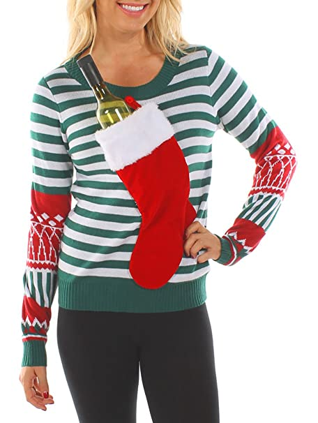 Wine Christmas Sweater.Tipsy Elves Women S Christmas Stocking Tacky Sweater