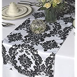 "12 Pack Flocked Taffeta Damask 12"" X 108"" Top Table Runner Black White Wedding"