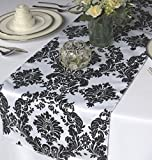20 Pack Flocked Taffeta Damask 12'' X 108'' Top Table Runner Black White Wedding
