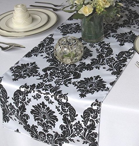 "12 Pack Flocked Taffeta Damask 12"" X 108"" Top Table for sale  Delivered anywhere in USA"