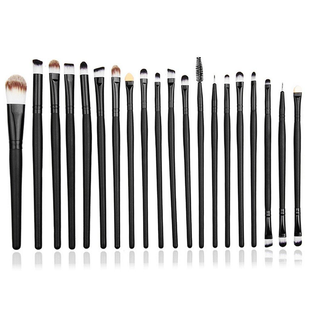 Westeng - Set di Pennelli per make up, 20 pezzi, Pennelli per trucco e cosmetici (fondotinta, ombretto, rossetto) (Nero)