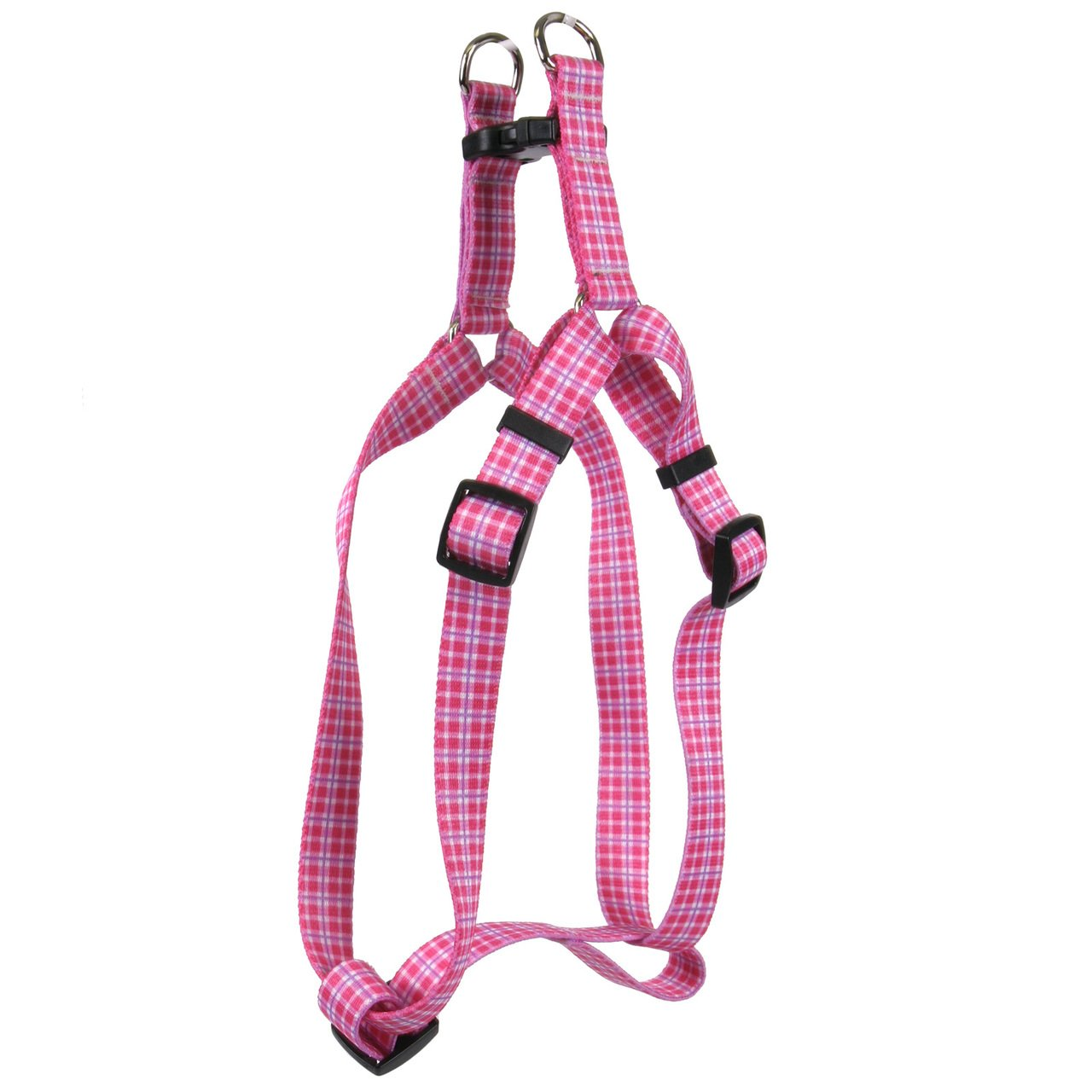 Yellow Dog Design Standard Step-in Harness, Preppy Plaid Pink, Small 9'' - 15''