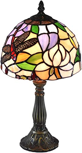 Tiffany Style Lamps Lotus Dragonfly Small Table Desk Light 15 Inches Tall Stained Glass 8 Inches Wide Lamp Shade Vintage Antique Accent Lamp for Living Bedside Coffee Room College Dorm