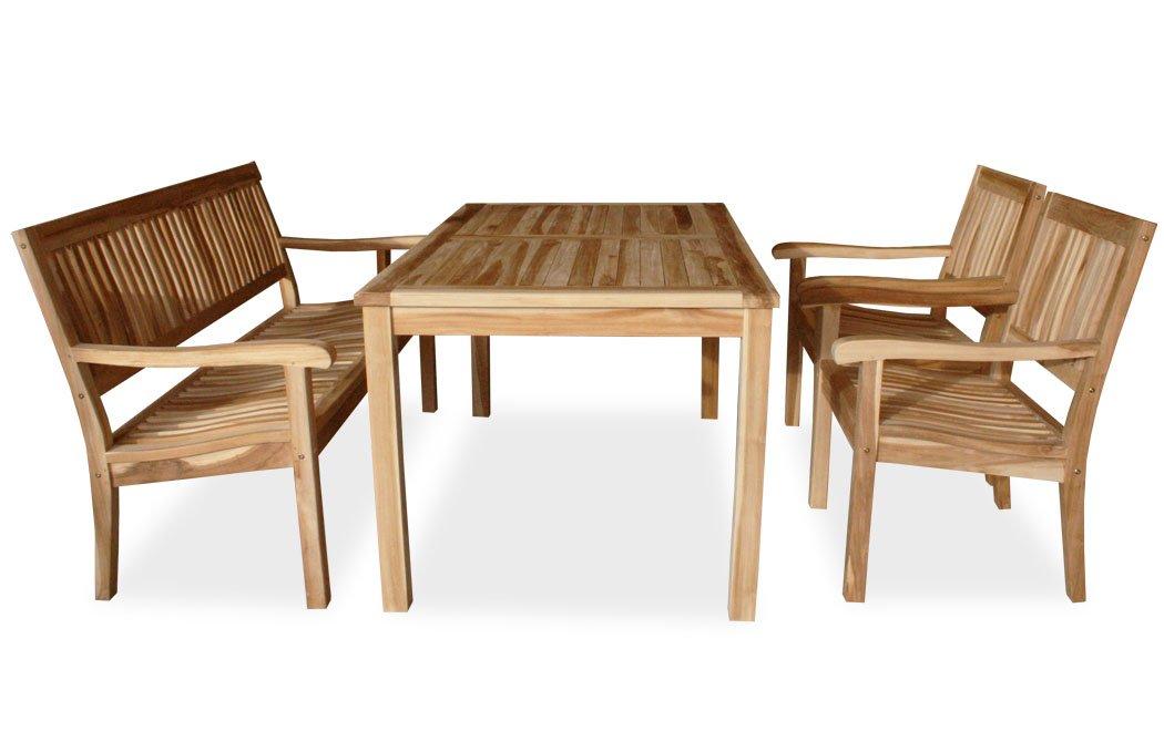 KMH®, 4-teilige Gartensitzgruppe LEA mit 150 cm langem Tisch für 5 Personen (ECHT TEAK) (#102215)