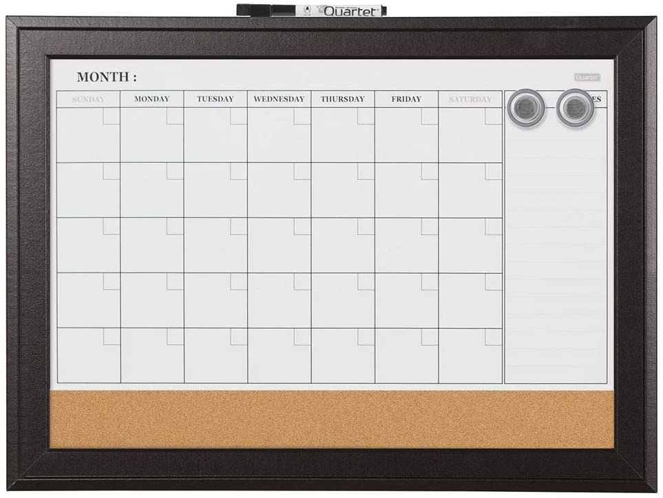 "Quartet Combination Magnetic Whiteboard Calendar & Corkboard, 17"" x 23"" Combo Dry Erase White Board & Cork Bulletin Board, Perfect for Office, Home School Message Board, Black Frame (79275) : Office Products"