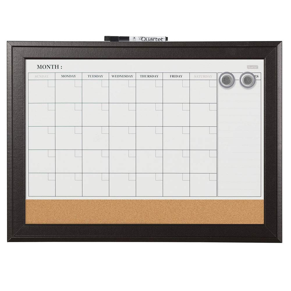 Quartet Combination Magnetic Whiteboard Calendar & Corkboard, 17 x 23 inches Combo White Board & Cork Board, Black Frame (79275)