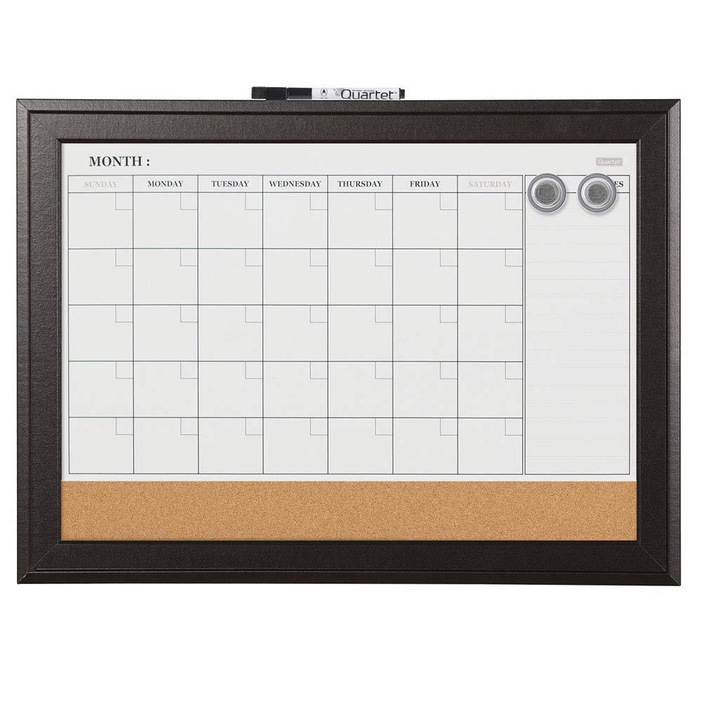 Quartet Combination Magnetic Whiteboard Calendar & Corkboard, 17 x 23 inches Combo White Board & Cork Board, Black Frame (79275) by Quartet