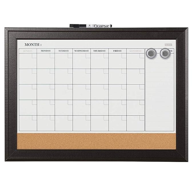 Quartet Combination Magnetic Whiteboard Calendar & Corkboard, 17 x 23 inches Combo White Board & Cork Board, Black Frame (79275)
