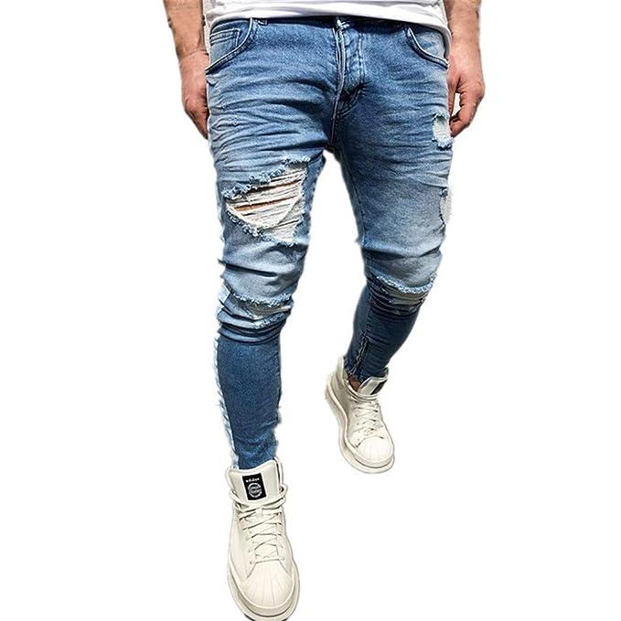 Strir Ropa Pantalones Vaqueros Rotos Biker Jeans De Hombre Slim Fit Elasticos