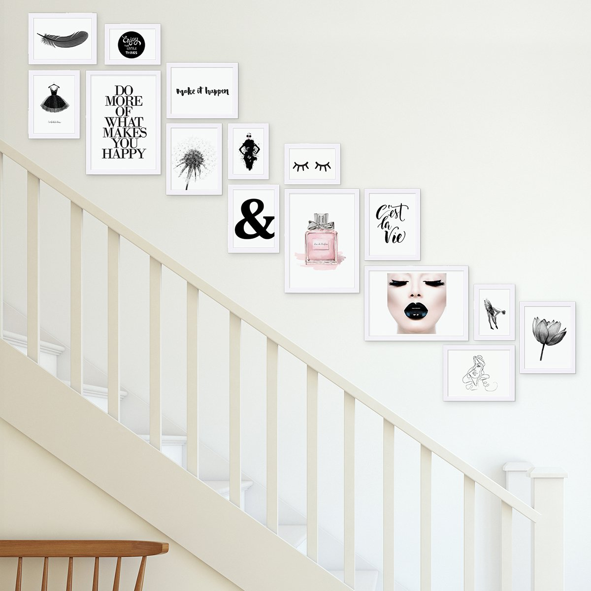 Lot de 3 Cadres 10x15 cm Moderne Blanc en MDF avec vitre en Acrylique Comprenant Accessoires//Collage de Photos//galerie dimages//Multi Cadre Photo Mural